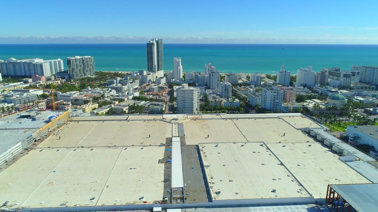 Aerial reveal Miami Beach Convention Center 4k