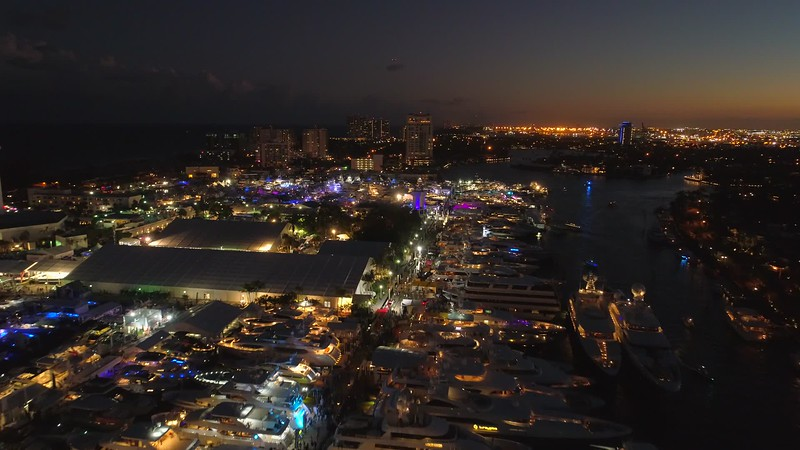 Flying over the Fort Lauderdale boat show 2017 night video