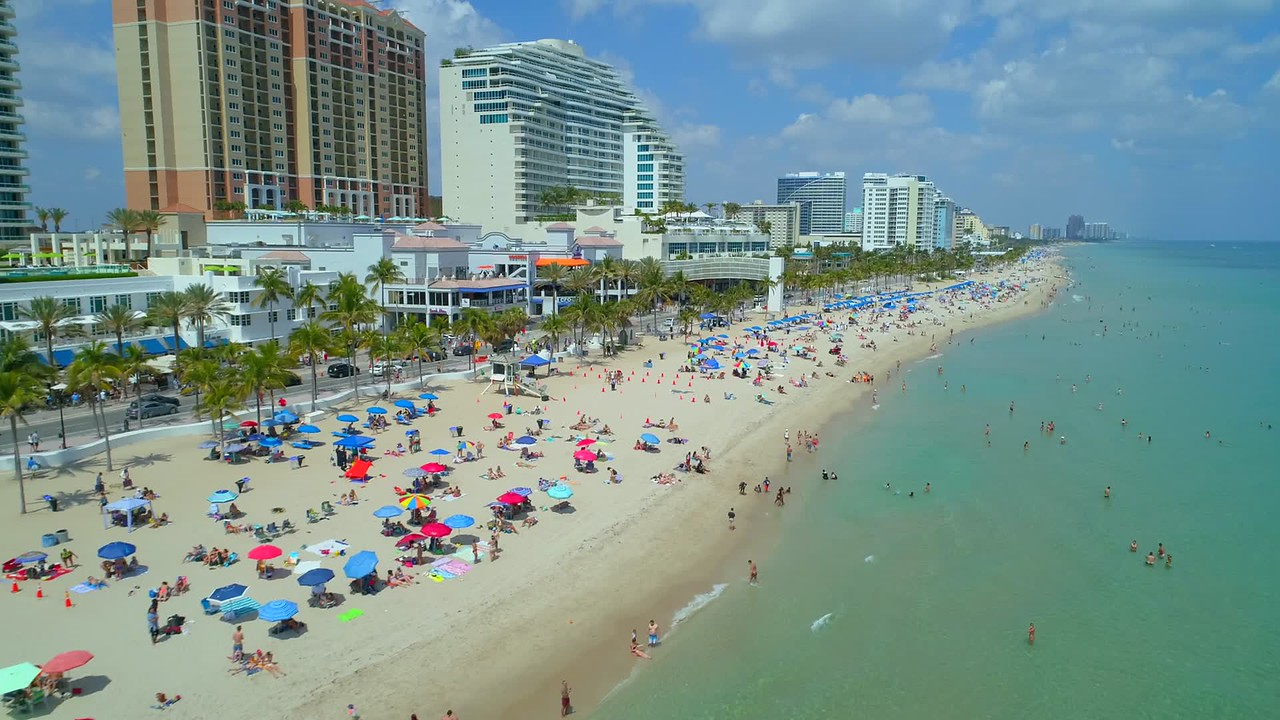 Drone stock footage Fort Lauderdale Beach Florida USA