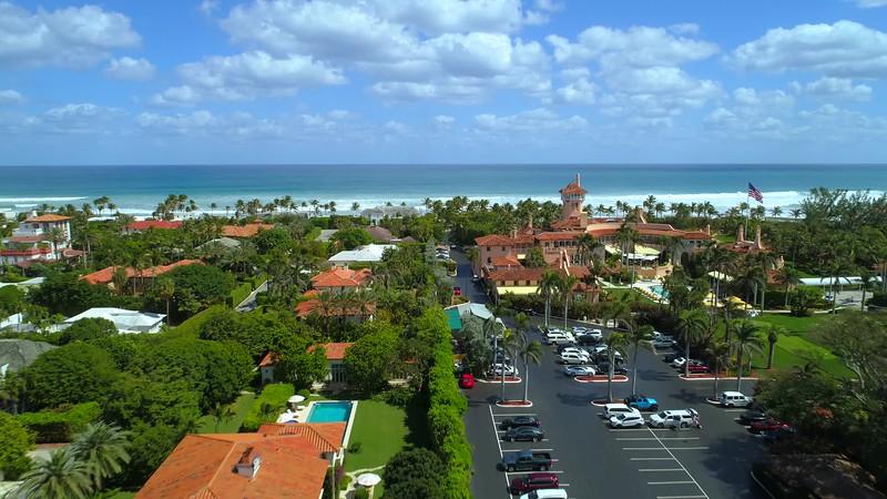 Aerial drone footage Mar A Lago a Donald Trump resort Florida 4k