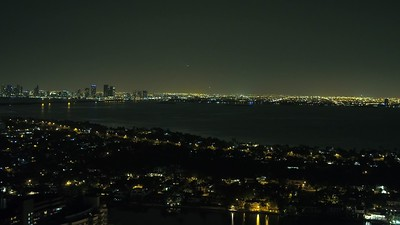 Night drone video Miami Beach view west of the bay