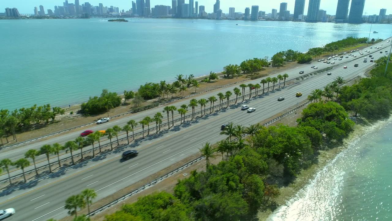 Miami drone aerial Julia Tuttle Causeway bridge to city