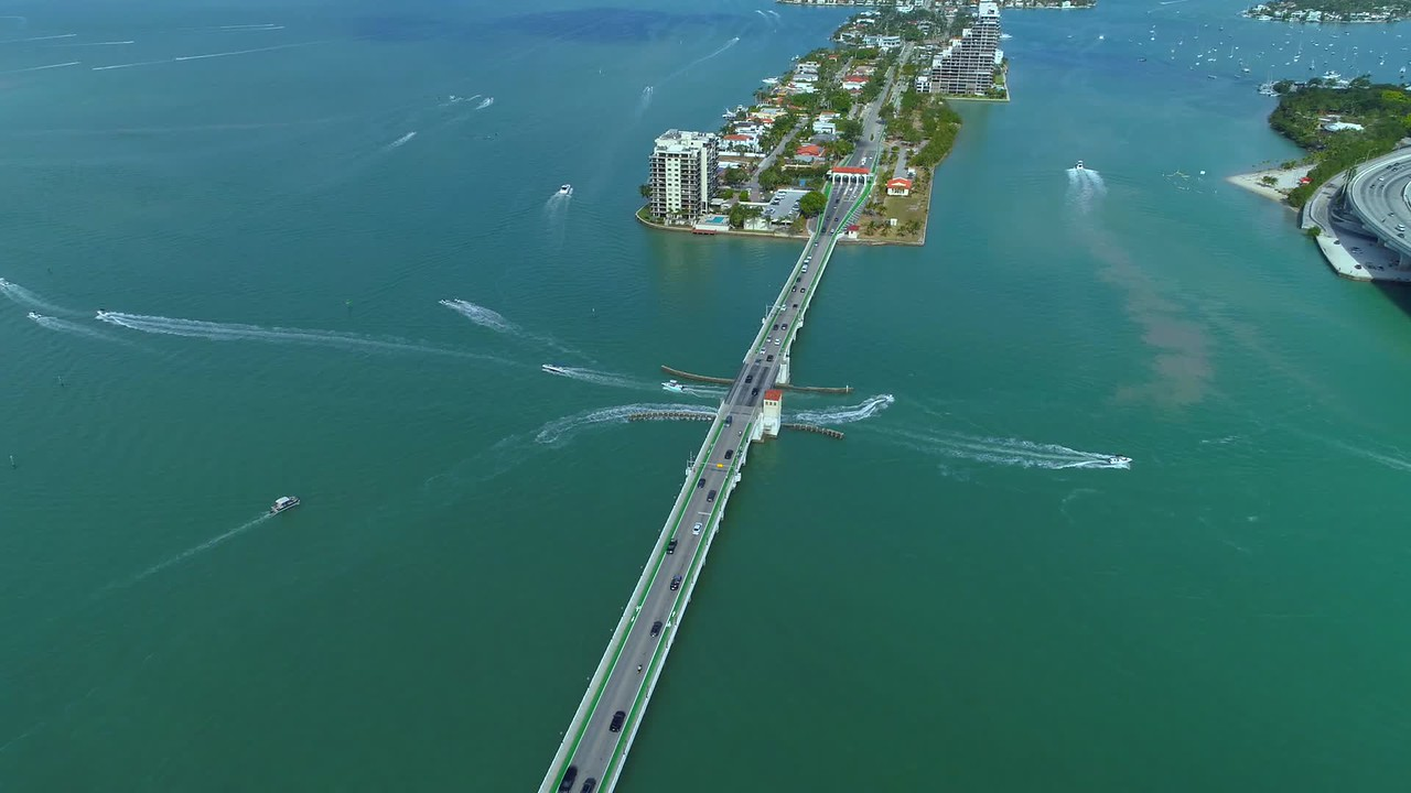 Miami aerial venetian islands causeway