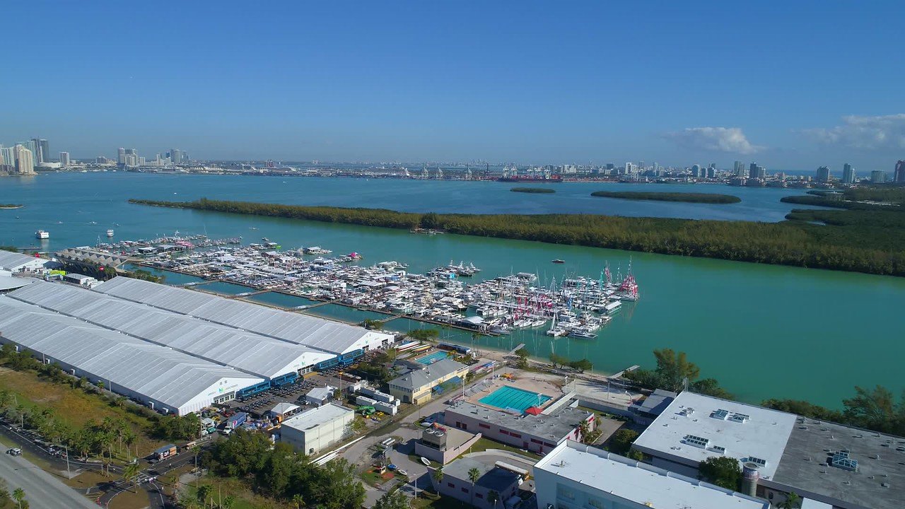 Miami Beach boat show aerial video white event tents