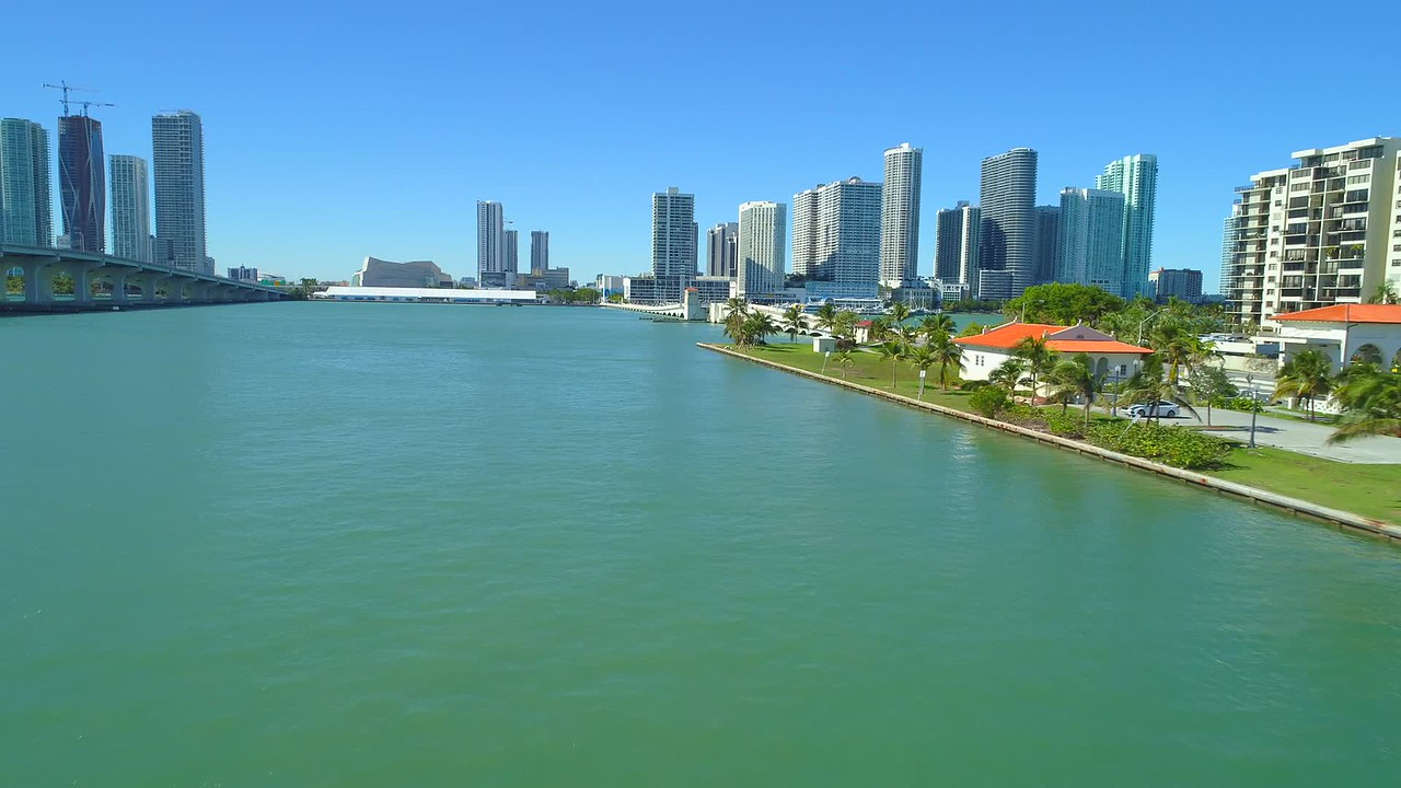 Aerial video Venetian Causeway Miami Biscayne Bay