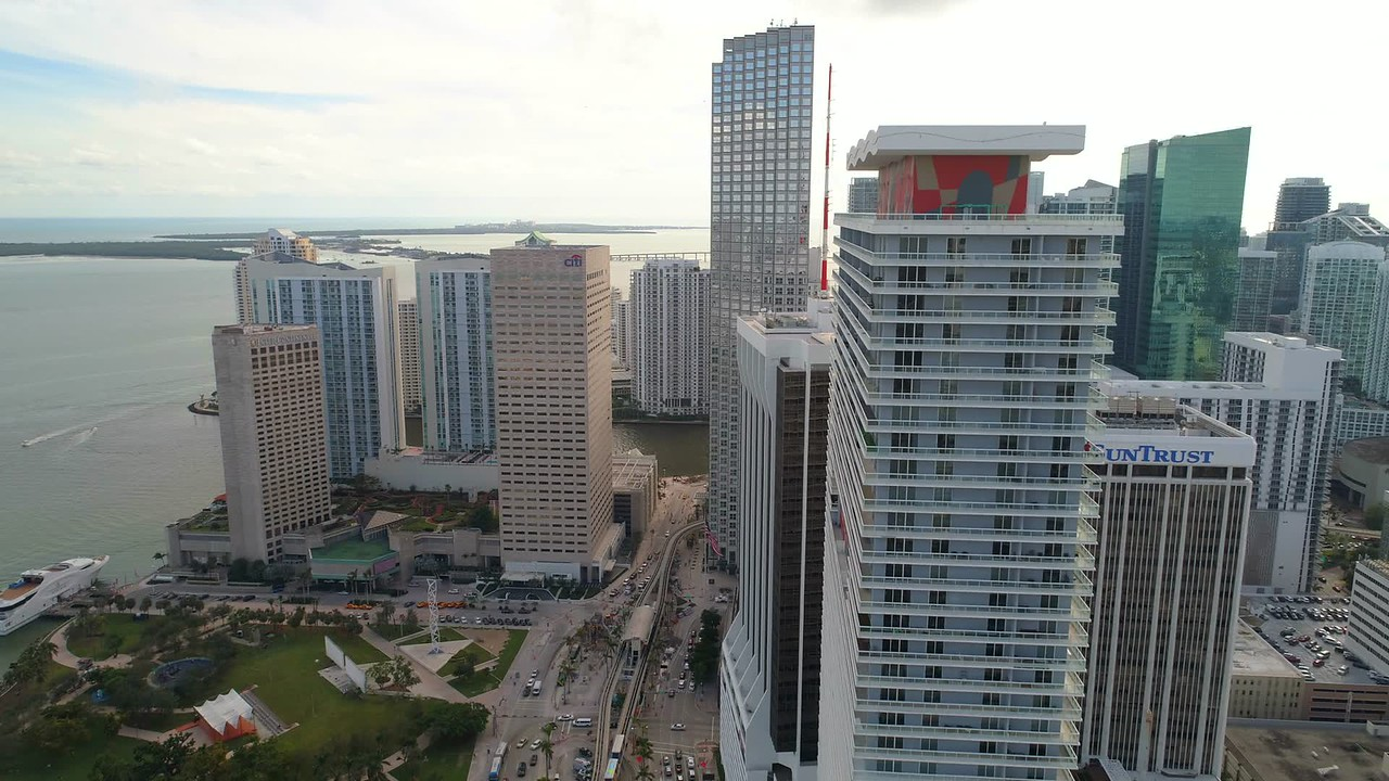 Aerial stock video Downtown Miami Bayfront Park Intercontinental 4k