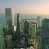 Aerial footage Brickell skyscrapers on the bay slow approach