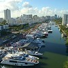 International boat show aerial drone footage miami Beach Florida USA