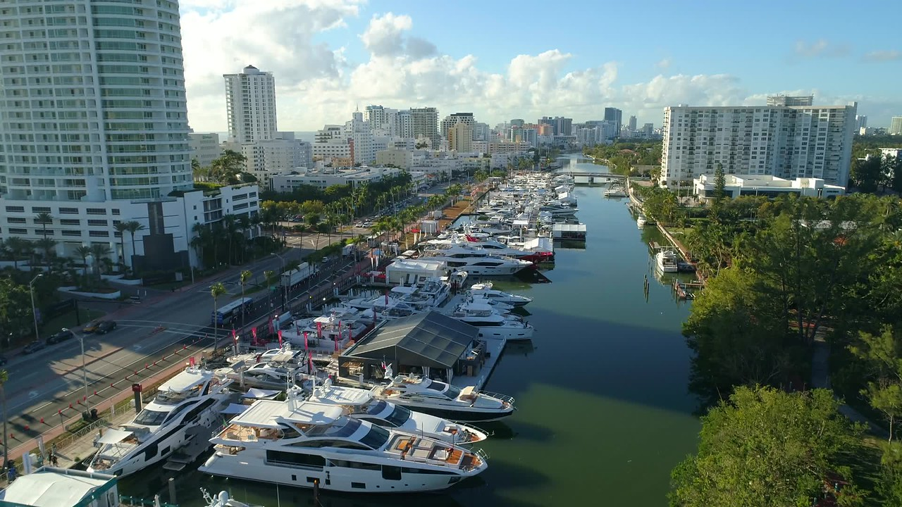 International boat show aerial drone footage miami Beach Florida USA