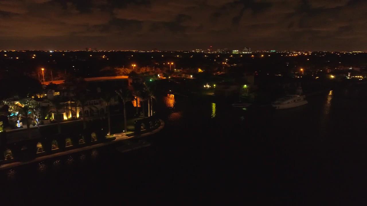 Stock aerial night video luxury mansions 4k