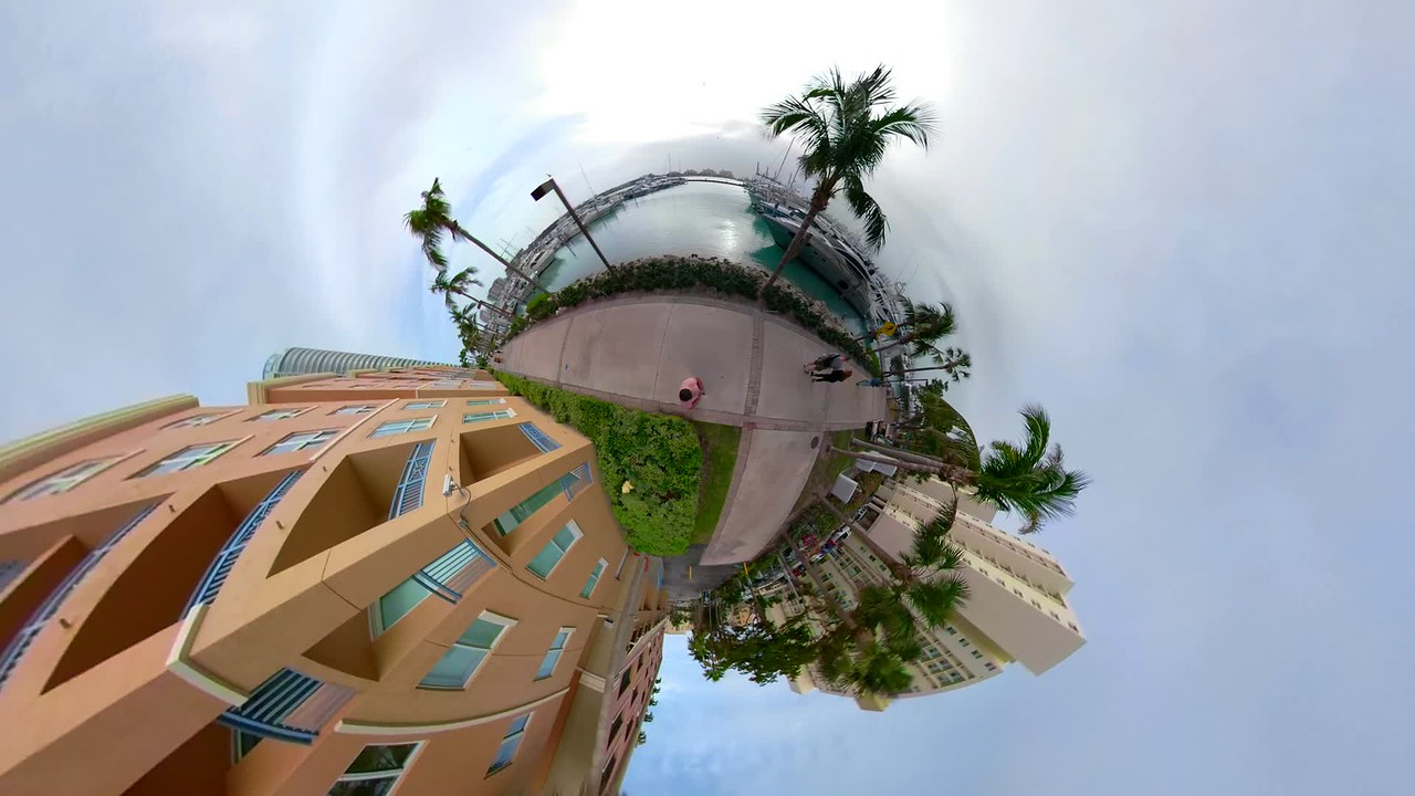 pov tiny planet overhead shot motion Miami Beach Marina Florida USA