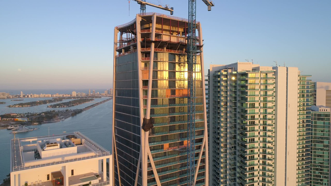 Aerial roof inspection skyscraper buildings Downtown Miami