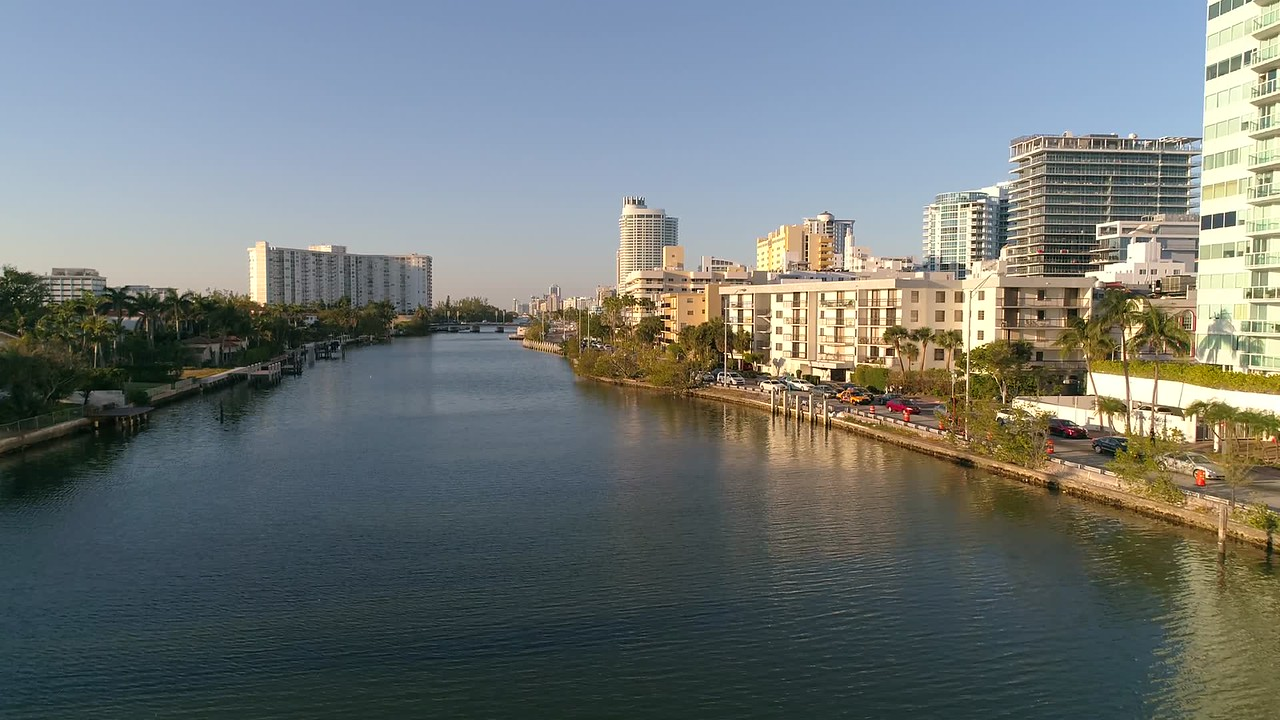 Aerial video Indian Creek Miami Beach 4k 60p