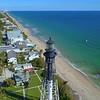 Aerial drone tracking shot Hillsboro Lighthouse 4k