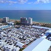 Aerial video of the Fort Lauderdale boat show and beach 4k 60p