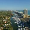 High drone shot Miami Beach International boat show 4k 60p