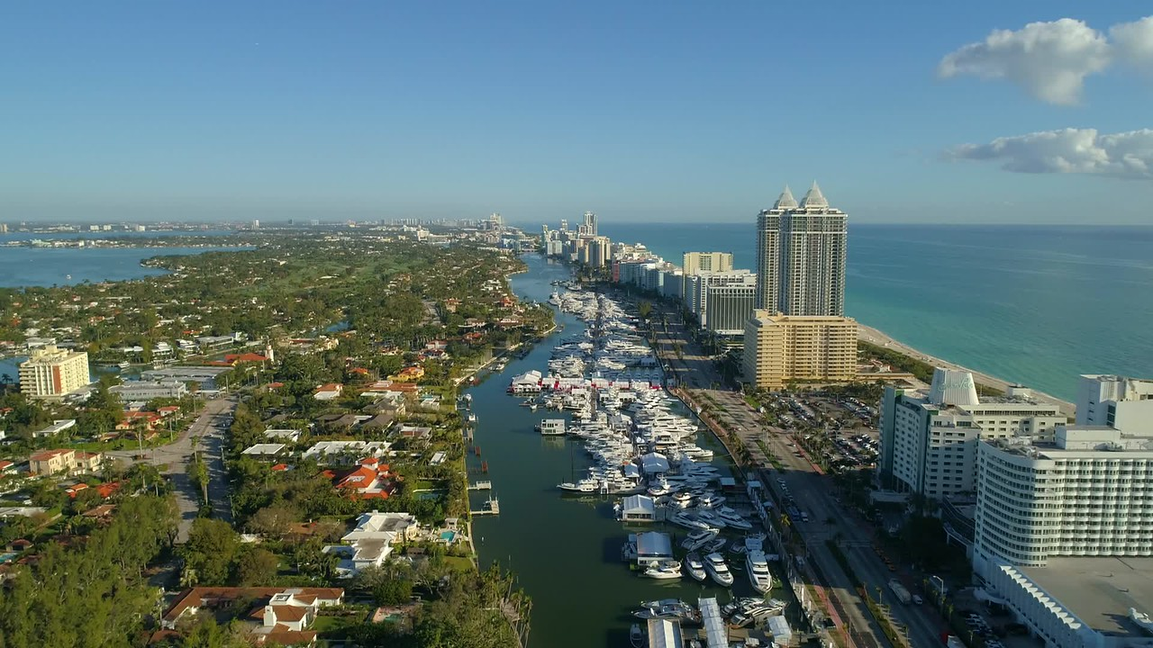 High drone shot Miami Beach International boat show 4k 60p