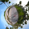 Tiny planet Miami Beach Ocean Drive pedestrian pathway