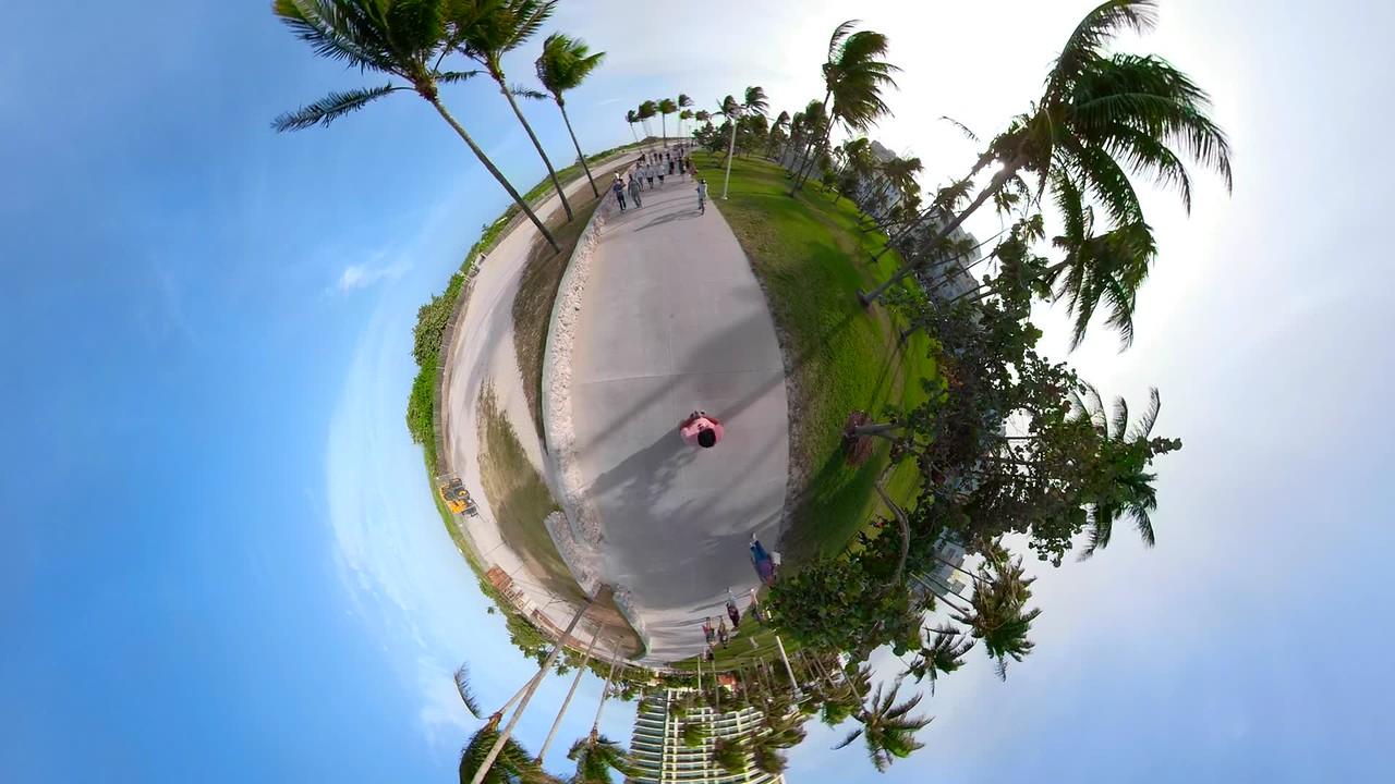 Tiny planet Miami Beach Ocean Drive pedestrian pathway