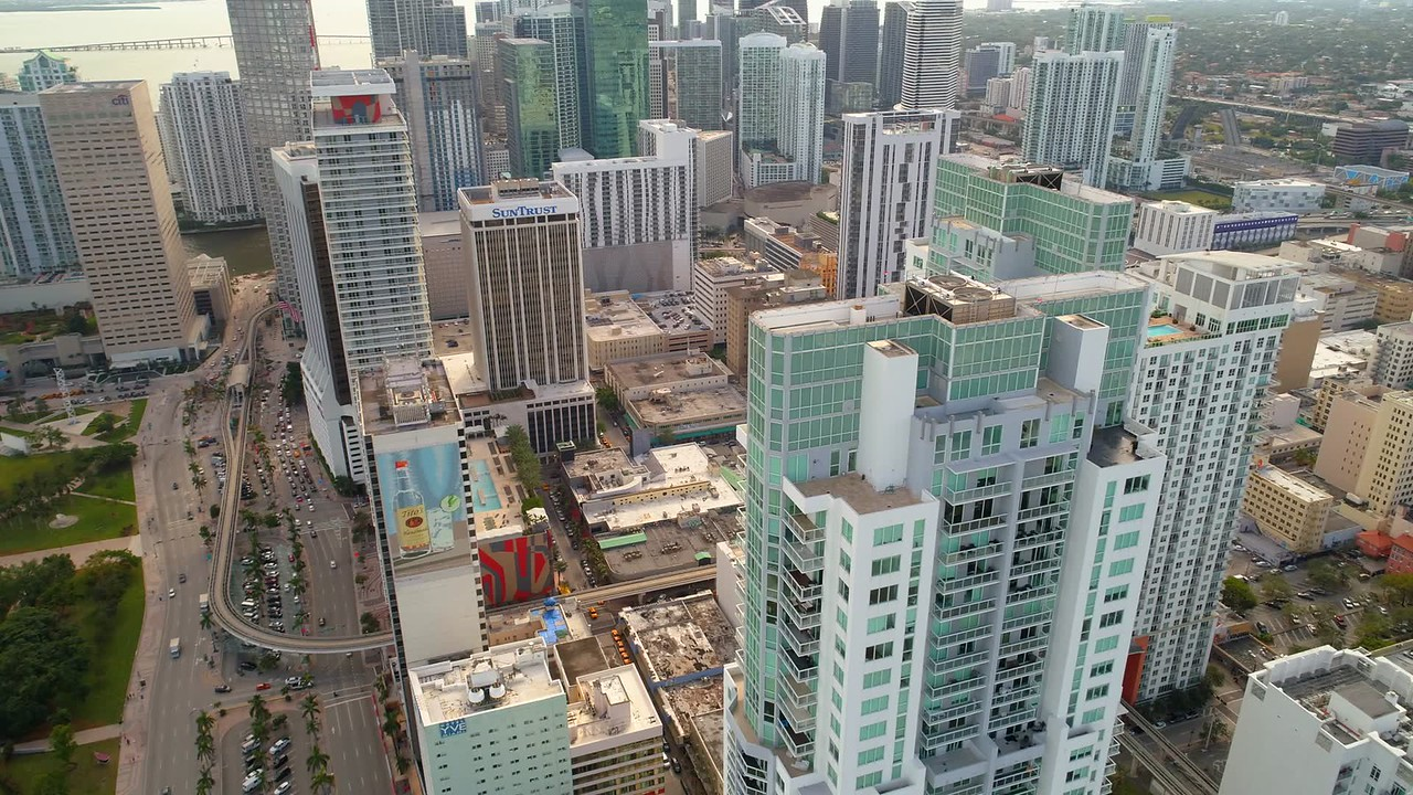 Aerial shot Vizcayne Towers Downtown Miami 4k