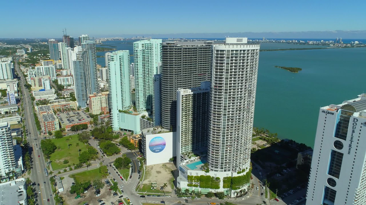 Aerial rooftop aerial highrise skyscrapers Edgewater Miami