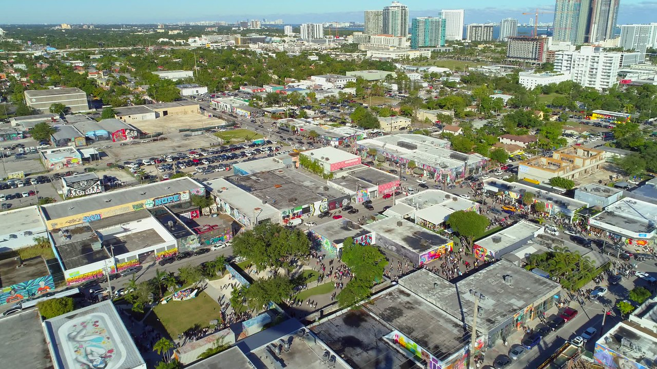 Drone footage Miami Wynwood art walls basel 2017 4k 24p
