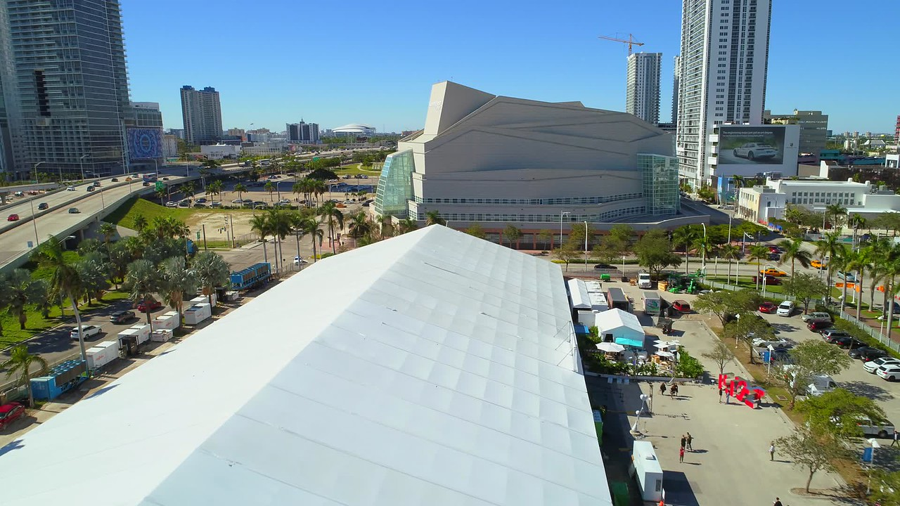 Aerial video of the Adrianne Arsht Center of the Performing arts Miami 4k