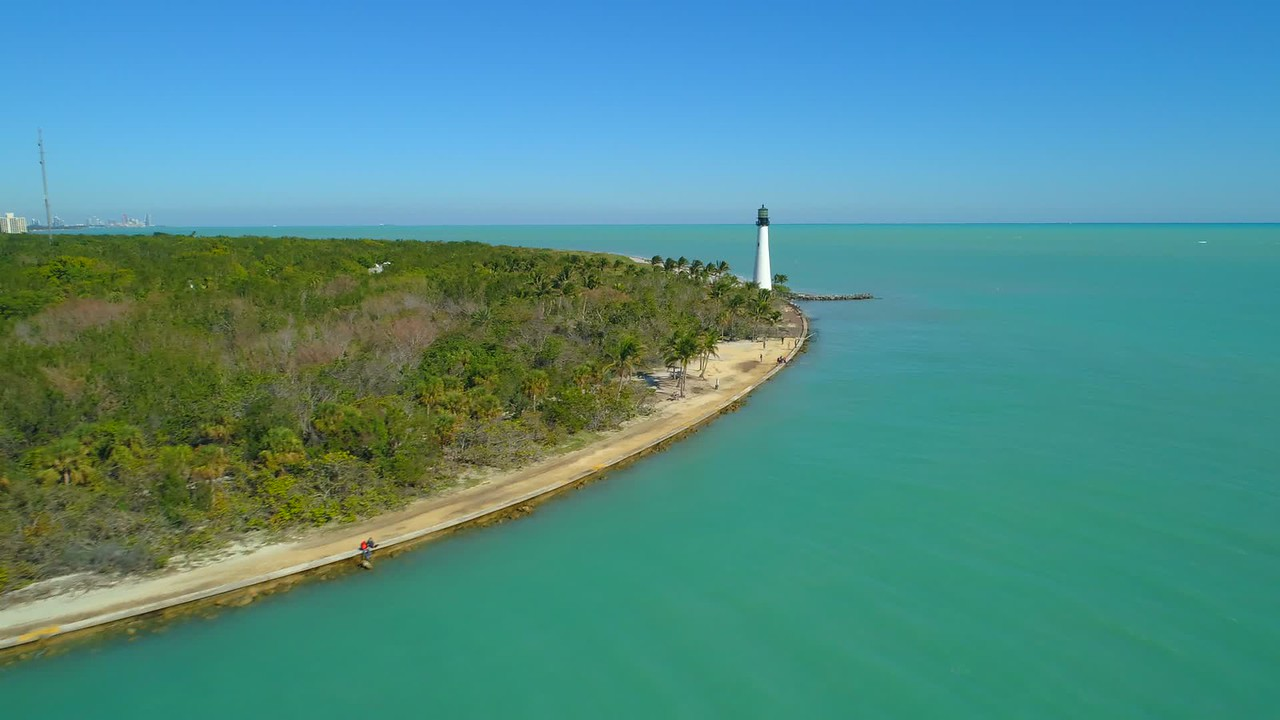Aerial video Florida lighthouse Bill Baggs Cape Park scenic tour