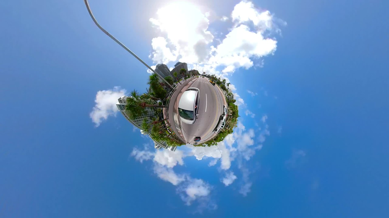 Car in motion tiny mini planet abstract video