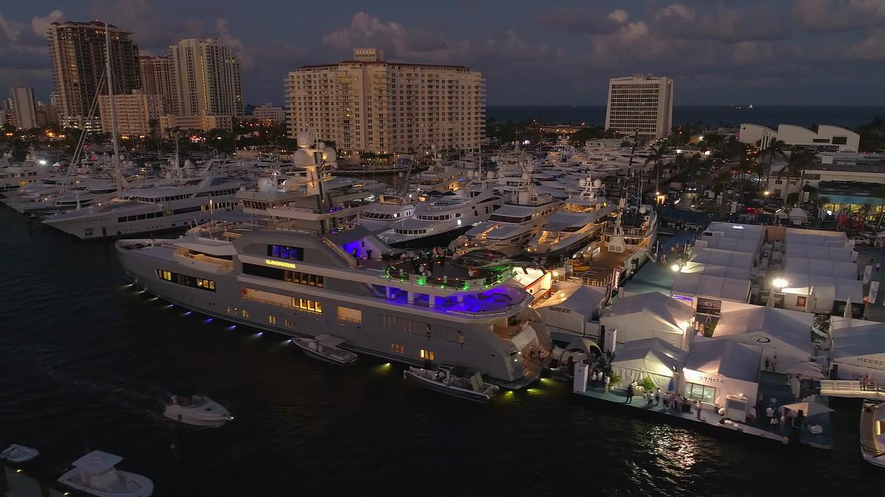 Drone boat show Fort Lauderdale FL 4k