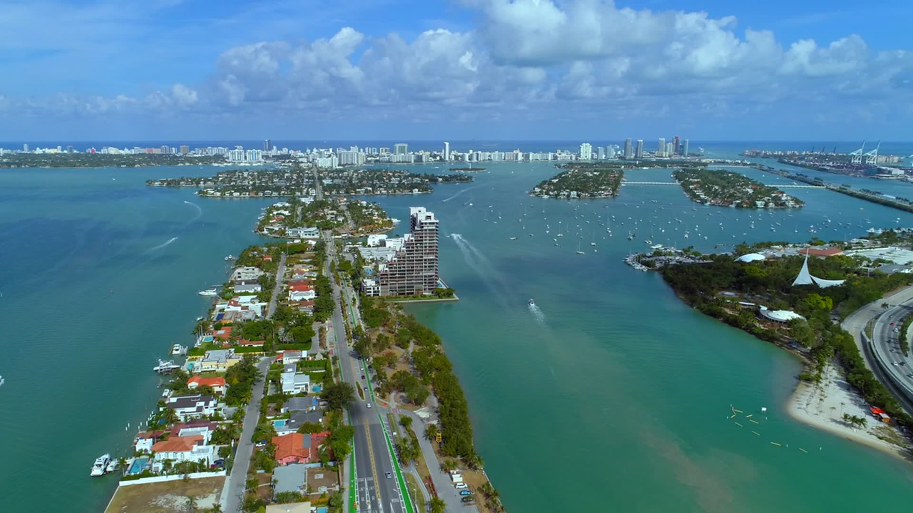 Aerial Miami Beach Venetian Islands Biscayne Bay