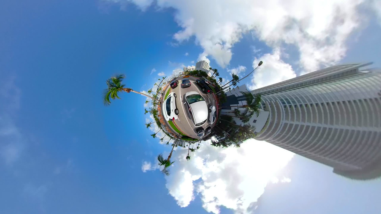 Aerial view Miniature planet Miami Beach Collins Avenue driving tour