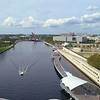 Curtis Hixon Waterfront Park Tampa aerial 4k 60p