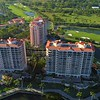 Drone shot Milano Siena Verona luxury residences condominiums Deering Bay Florida 4k