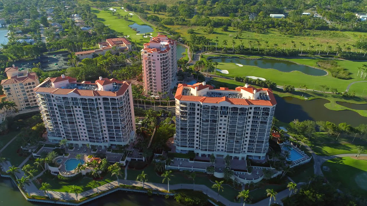 Drone shot Milano Siena Verona luxury residences condominiums Deering Bay Florida 4k