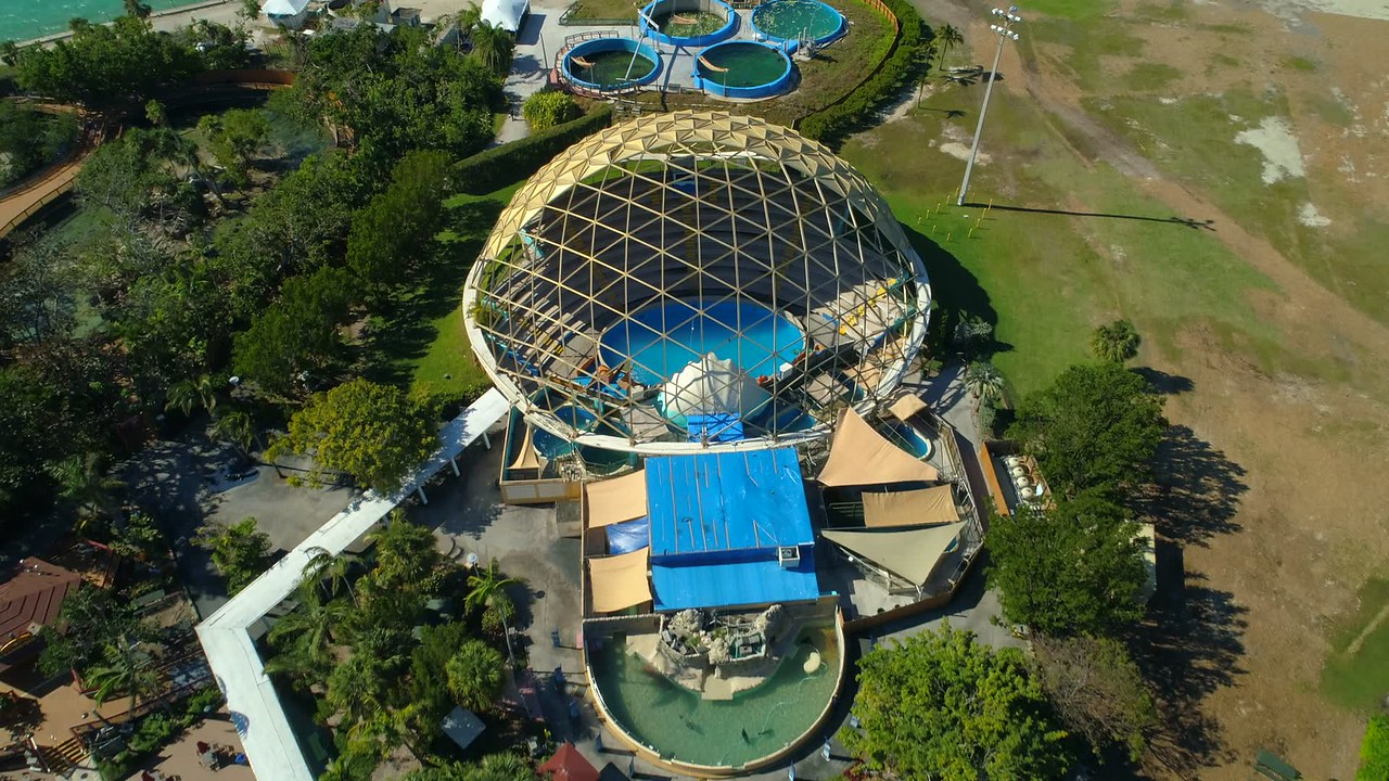 Clamshell theater Miami Seaquarium aerial video