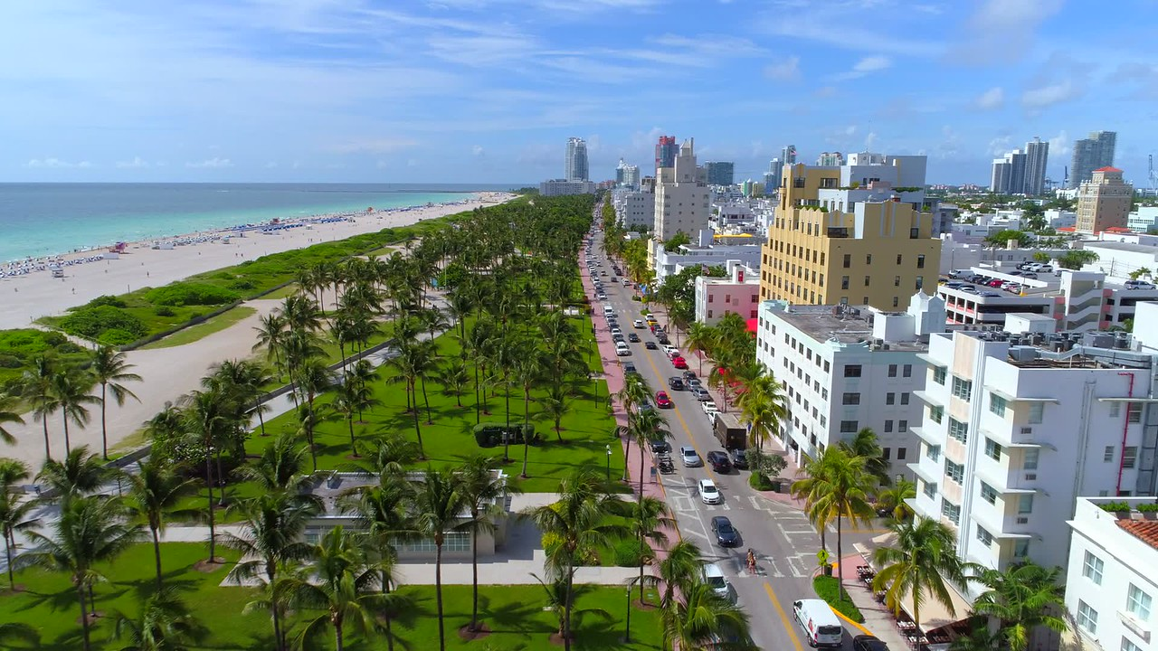 Drone aerial video Ocean Drive South Beach Miami