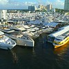 Aerial Fort Lauderdale boat show event tents 4k 60p