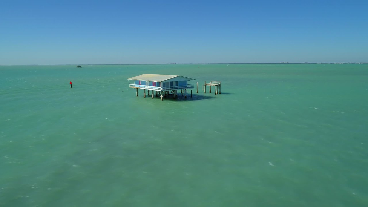 Drone video tour Stiltsville homes Florida