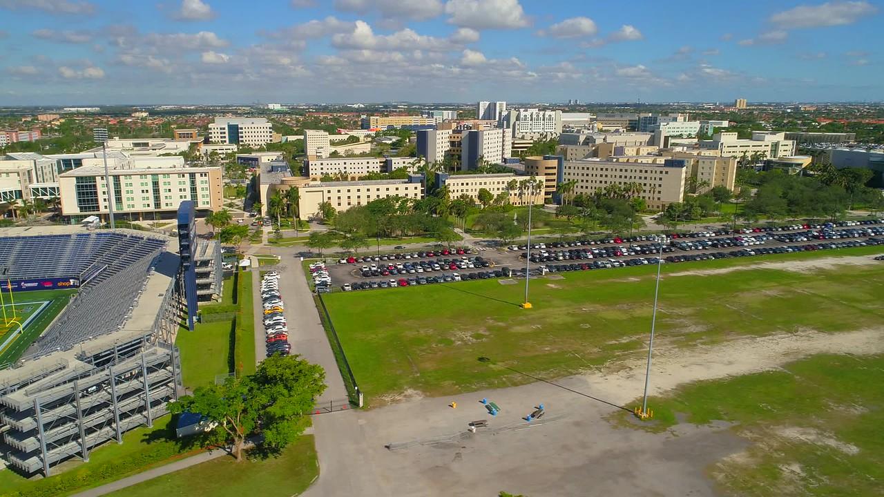 Aerial establishing shot of FIU Miami college campus