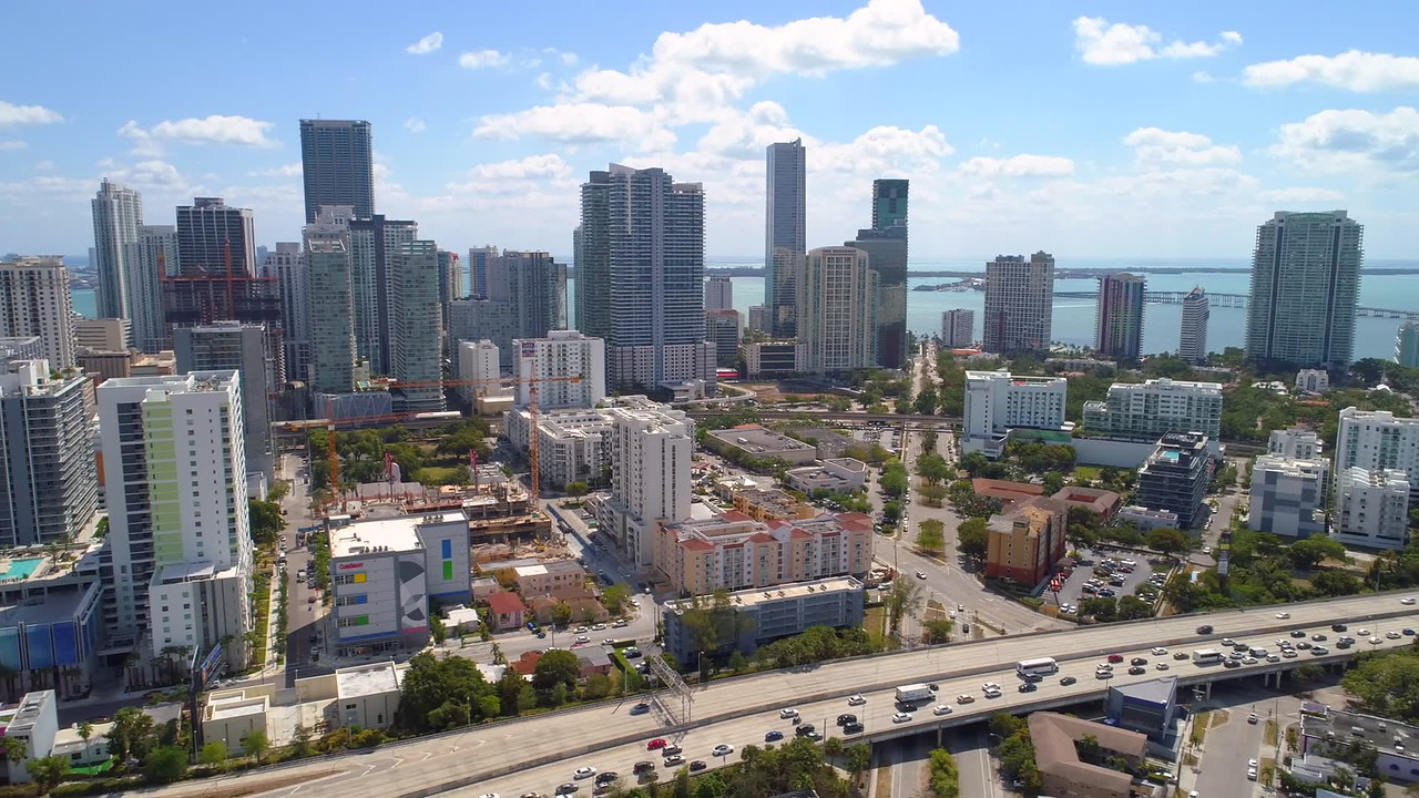 Aerial lateral footage Miami Downtown Brickell clip 4