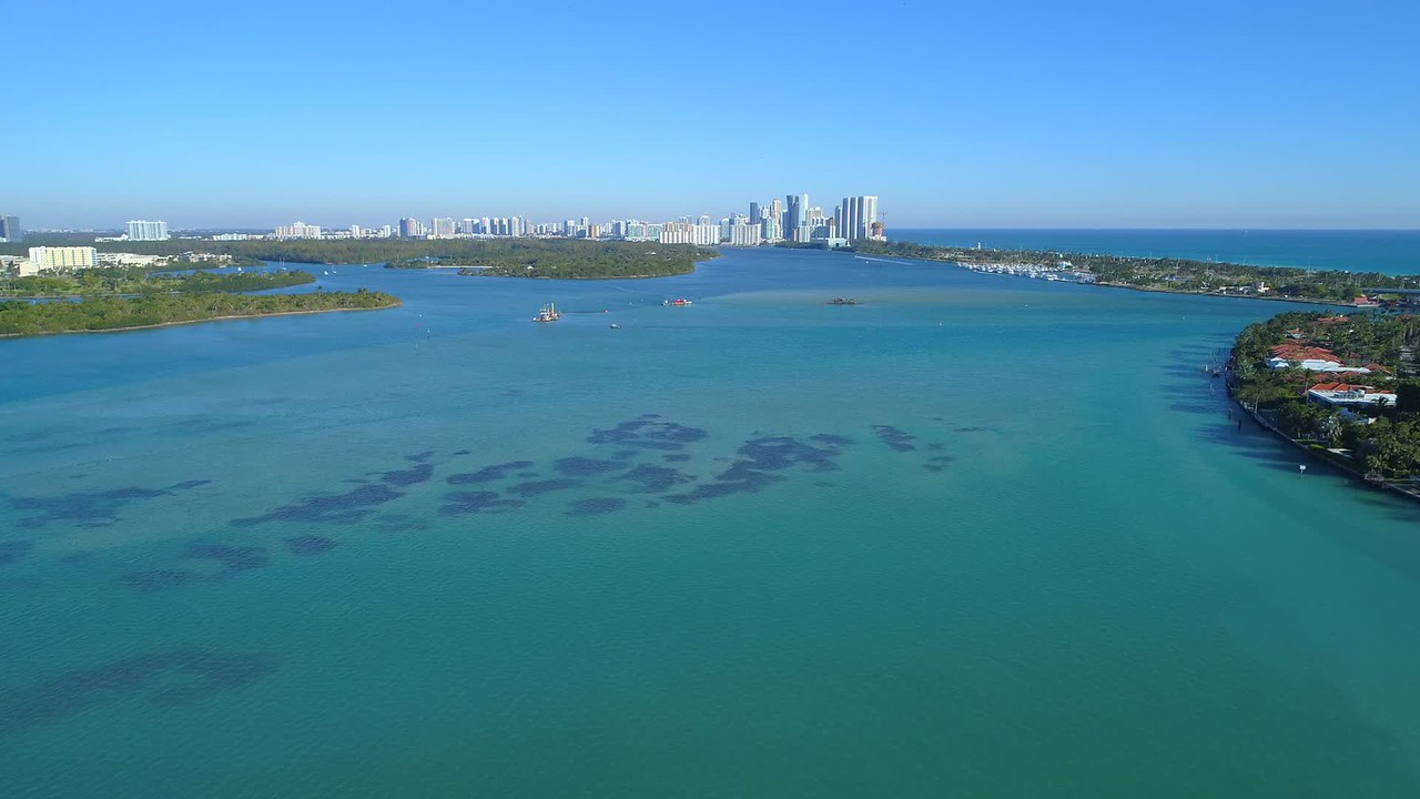 Aerial drone video Miami Biscayne Bay Florida 4k blue water
