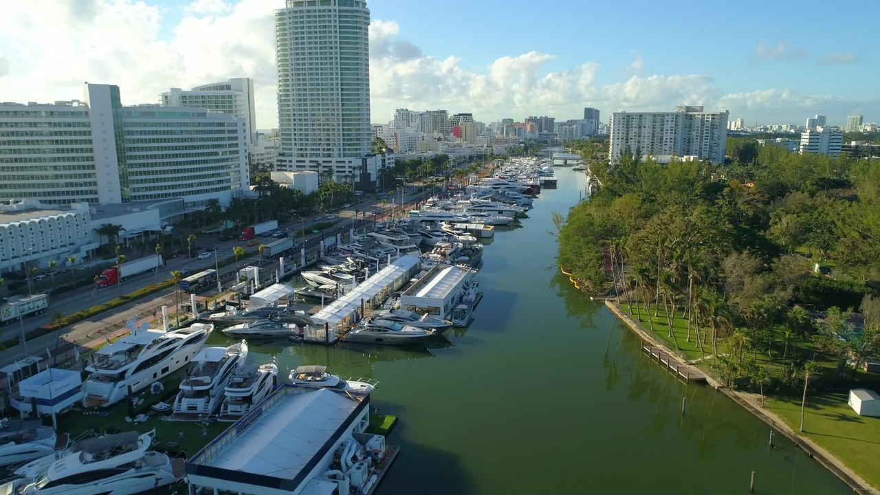 Super yachts Miami boat show aerial drone footage 4k 60p