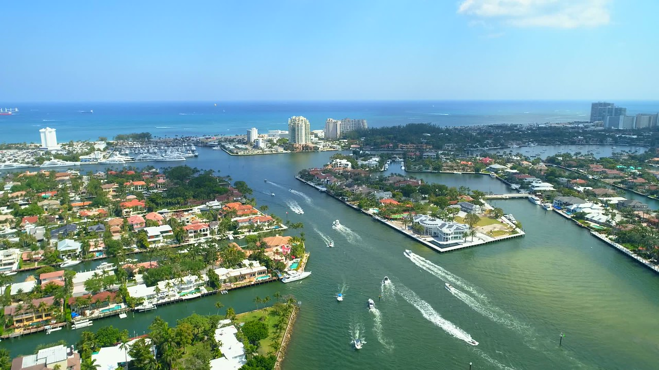 Drone luxury homes Fort Lauderdale aerial fly 4k
