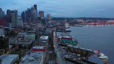 Seattle historical pier district downtown at twilight 4k