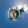 Tiny Planet footage driving in Miami Beach Venetian Islands