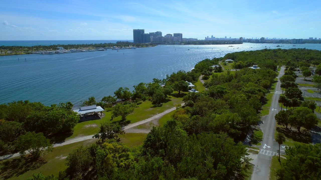 Aerial drone video Intracoastal waterway Miami FL