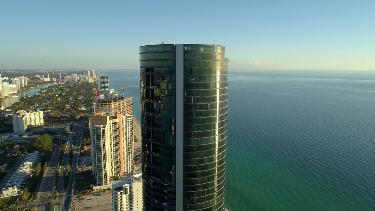 Aerial orbit Porsche Design Tower Sunny Isles Beach FL