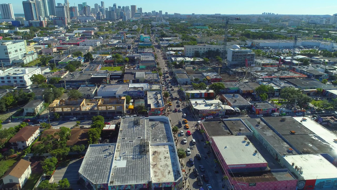 Drone stock footage Wynwood Miami art walls 4k 24p