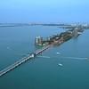 Aerial Venetian Islands Miami Beach shot with drone 4k